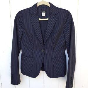 J. Crew Navy Pinstripe Linen Cotton Blazer Size 0